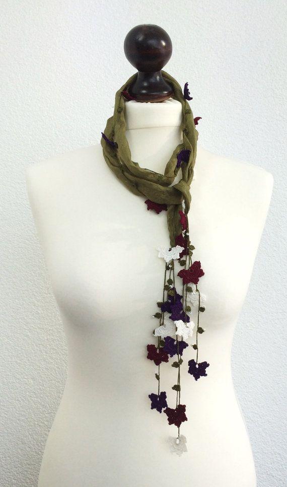 Silk Wrap Scarf, Silk Necklace, Olive Green Foulard, Crochet ...