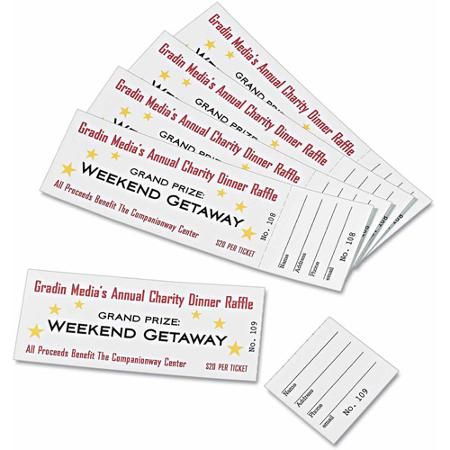 Avery Printable Tickets With Tear Away Stubs 1 3 4 X 5 1 2 Matte