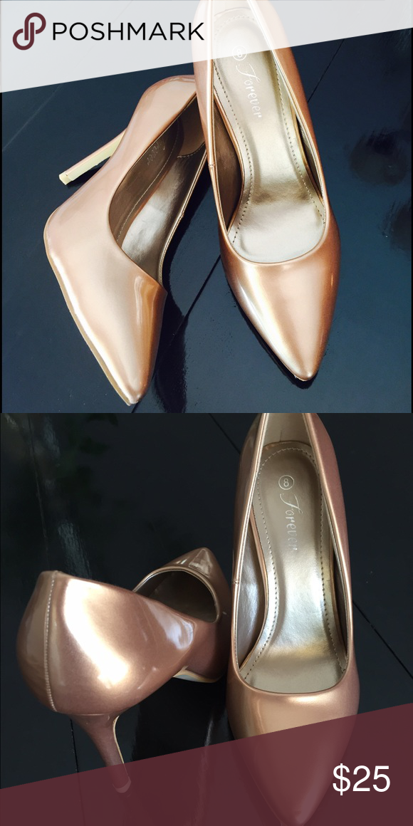 Forever stiletto pumps Pointy toe high heel metallic bronze stiletto pumps. Brand new! Forever  Shoes Heels
