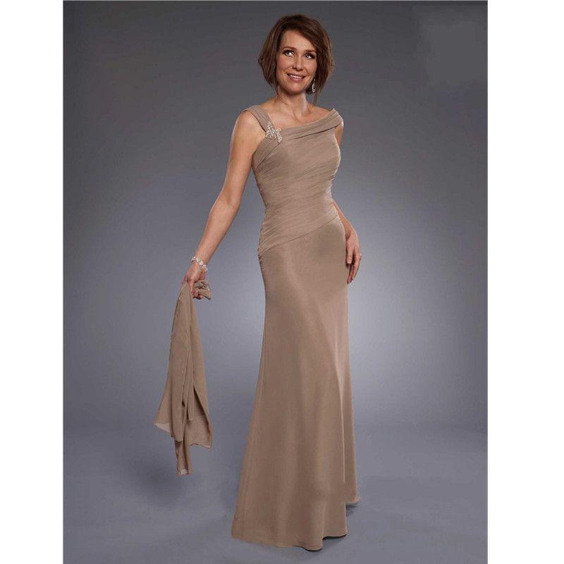 Lange Mutter der Braut Kleider mit Jacke Eine linie falten Perlen ...
