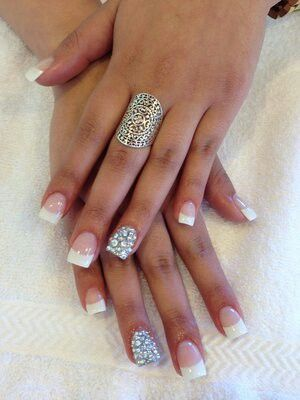 Diamonds Gems French Manicure French Tip Acrylic Nails Cute Acrylic Nail Designs White Tip Nails