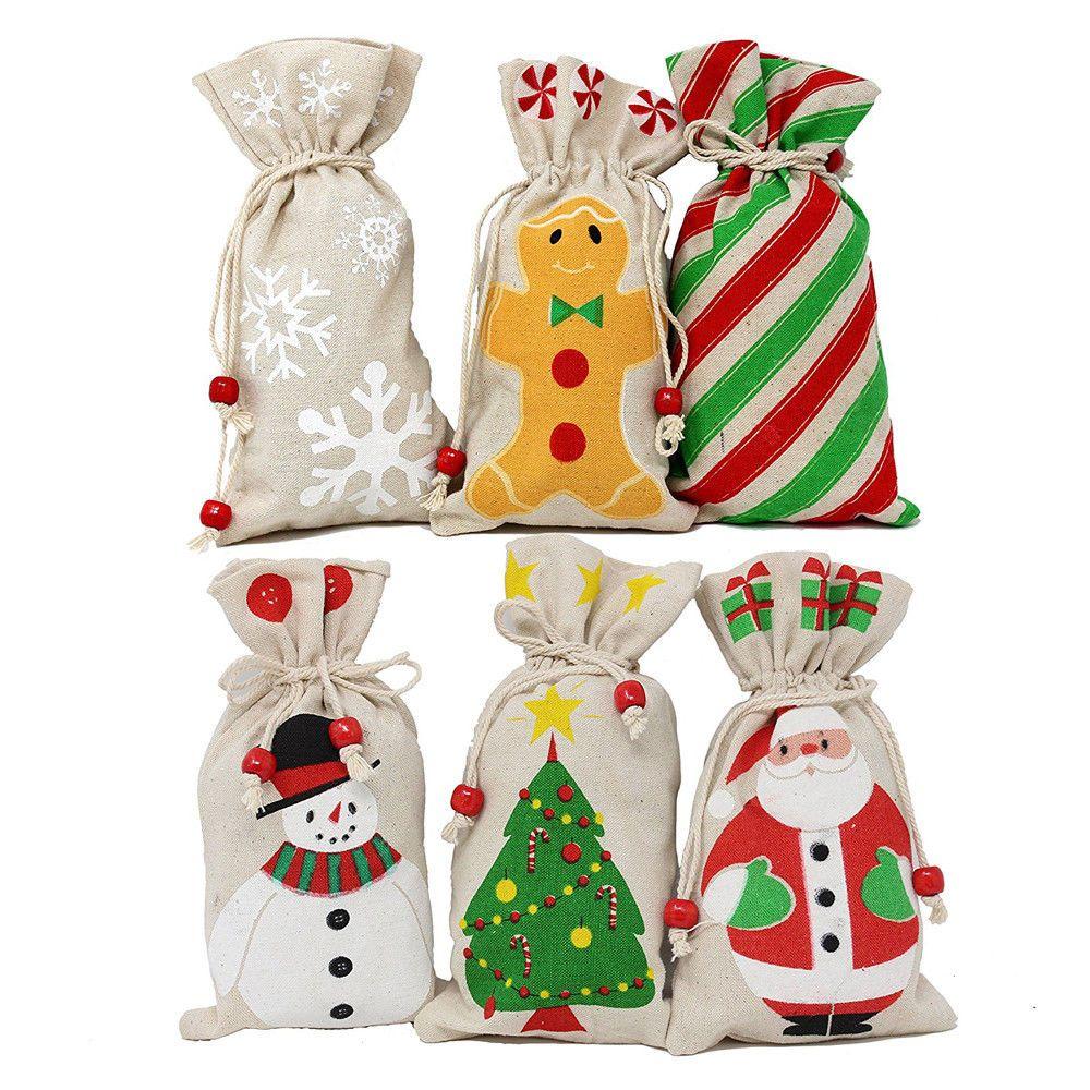 Christmas Candy Bags Canvas Santa Sack Drawstring Bags Xmas Gift ...