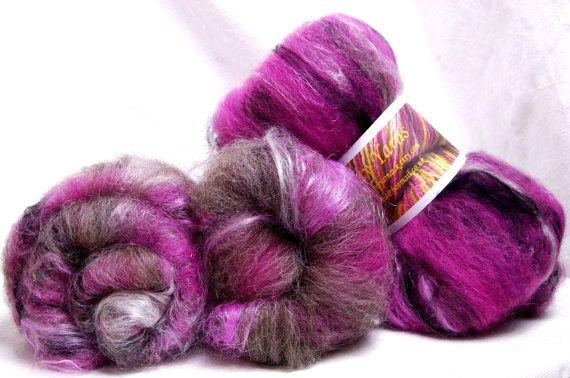 Hand carded batts Hand dyed Bowmont CorriedaleGrey by YummyYarnsUK, £13.75