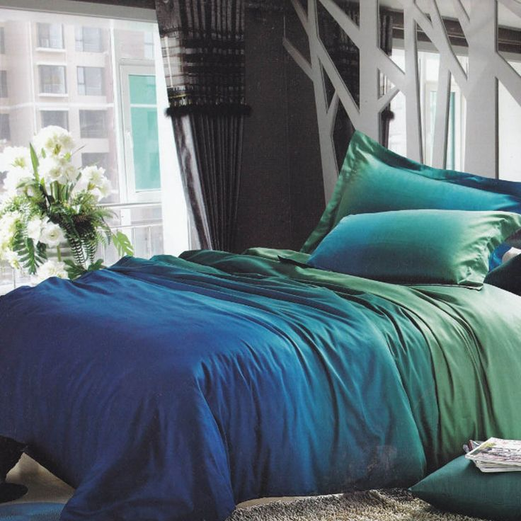 Unique Bedroom Interior With Blue Green Gradient Bedding Sets And