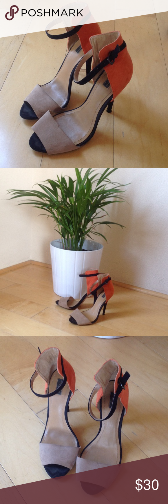 "Elegant colour block high-heel sandals. Elegant beige and orange sandals. 4"" heel in size 7.5. Worn 5 times. Zara Shoes Heels"