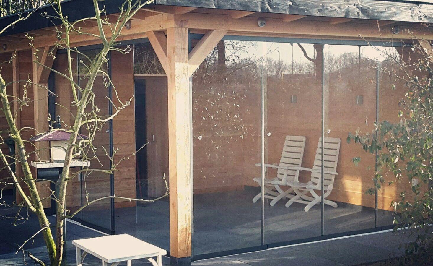 Houten Douglas Veranda Met Glasschuifwandsysteem Glas