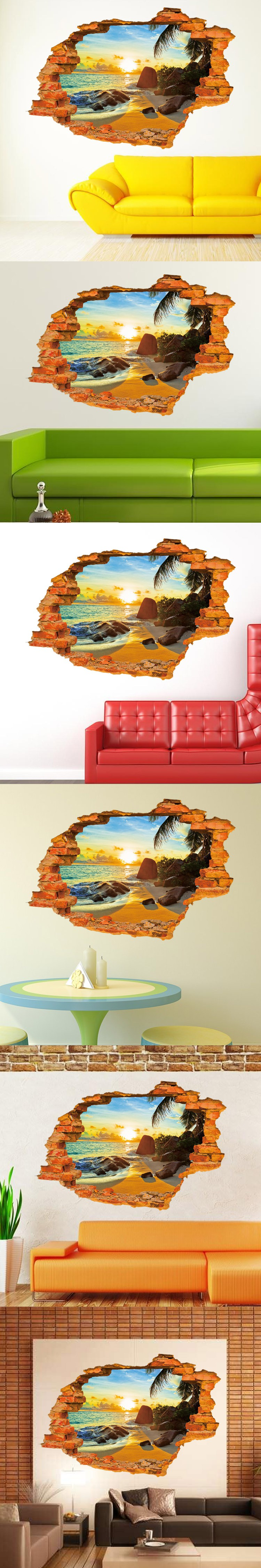 3D Sun and Seaside Beach Sea Wall Sticker for TV background livingroom Bedroom kids Home Decor paper poster aw8001C $7.8