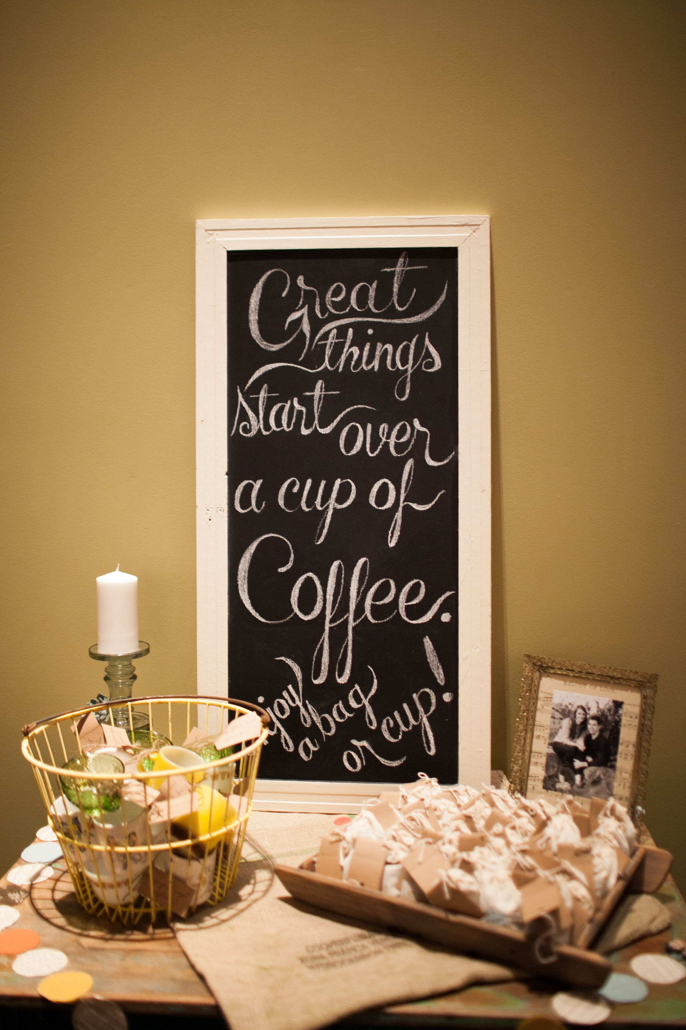 Coffee cup & bags of coffee for favors. Coffee wedding