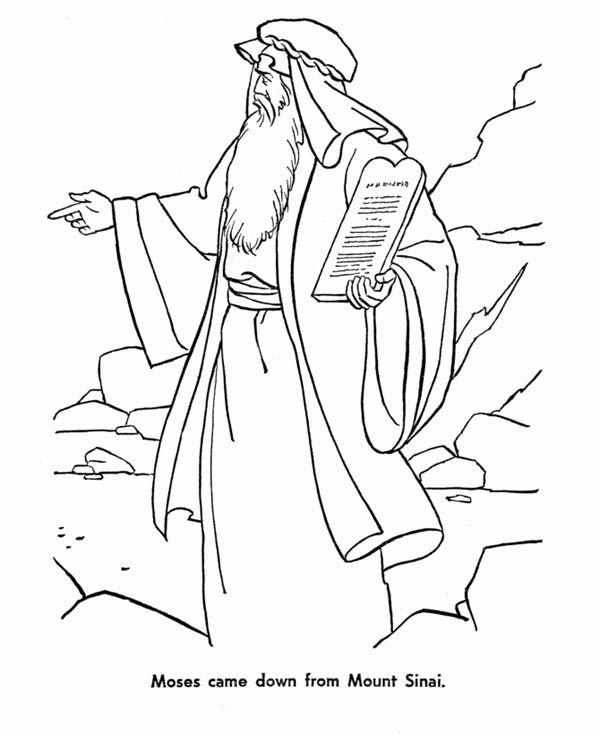 Moses Moses Came Down From Mount Sinai With The Law Coloring