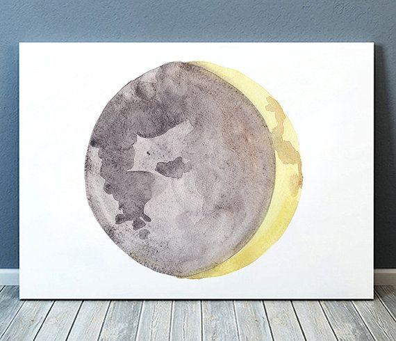 Lovely Moon poster. Beautiful Moon phase print for your home and office. Cute Watercolor art. Nice hand drawn Lunar print.  BUY 1 GET 1 FREE - use