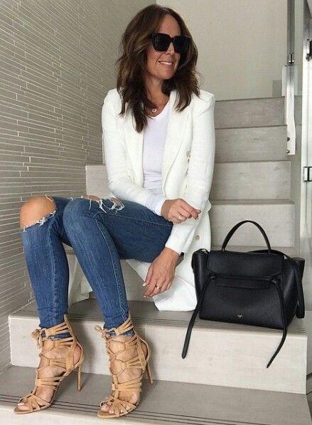 white blazer  nude sandals  tashsefton   w  Fashion Design Women ... df3d0c9501