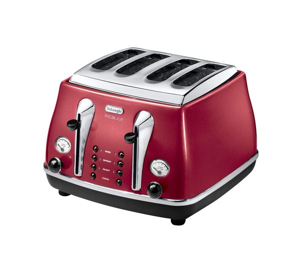 Buy DELONGHI Micalite CTOM4003R 4 Slice Toaster Red