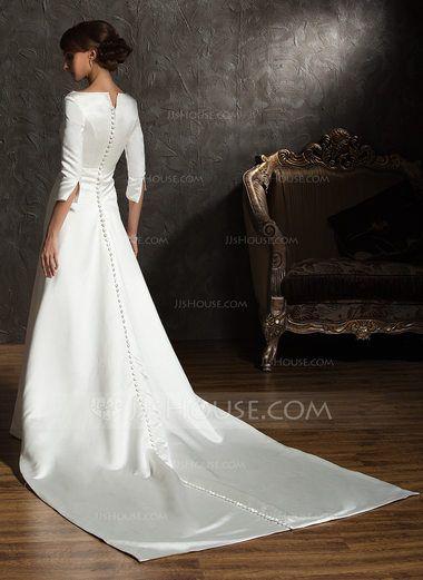 Forme Princesse Epaules nues Traîne watteau Satiné Robe de mariée (002004779) - JJsHouse