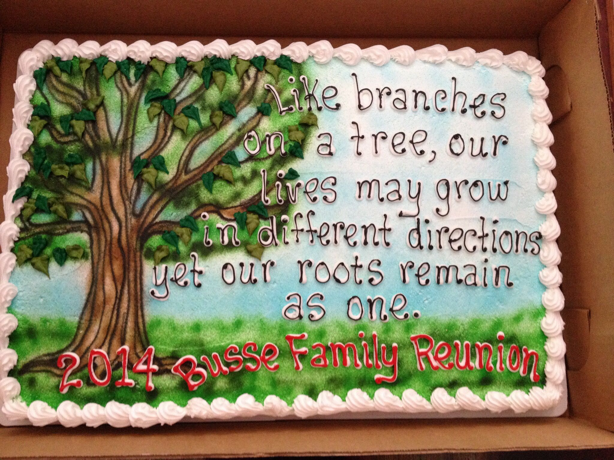 I had this cake made for our family reunion. Love it! #familypicnicfoods