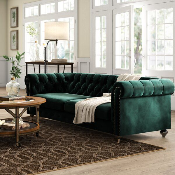 """Claire Velvet Chesterfield 90"""" Rolled Arm Sofa in 2020 ..."""
