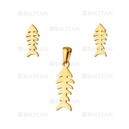 juego dije y aretes de espina de pescado dorado acero inoxidable -SSSTG1033915