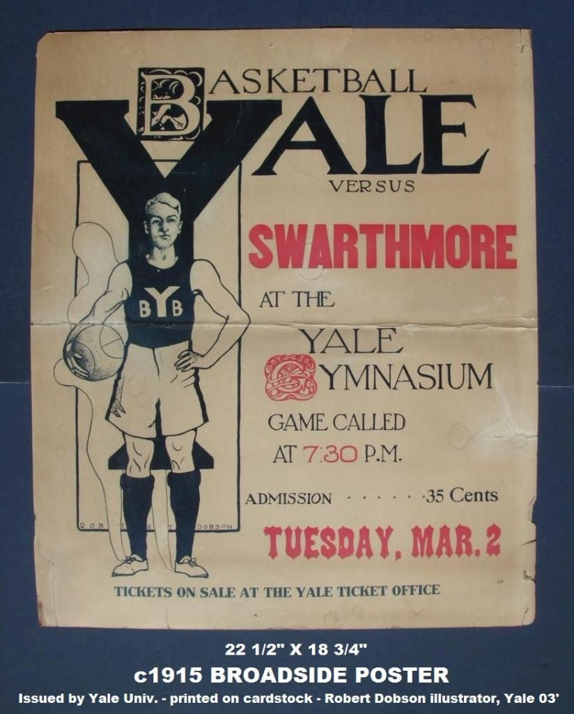 College Basketball Swarthmore Vs Yale Basketball Broadside 1915 Broadside Poster Basketball History College Basketball