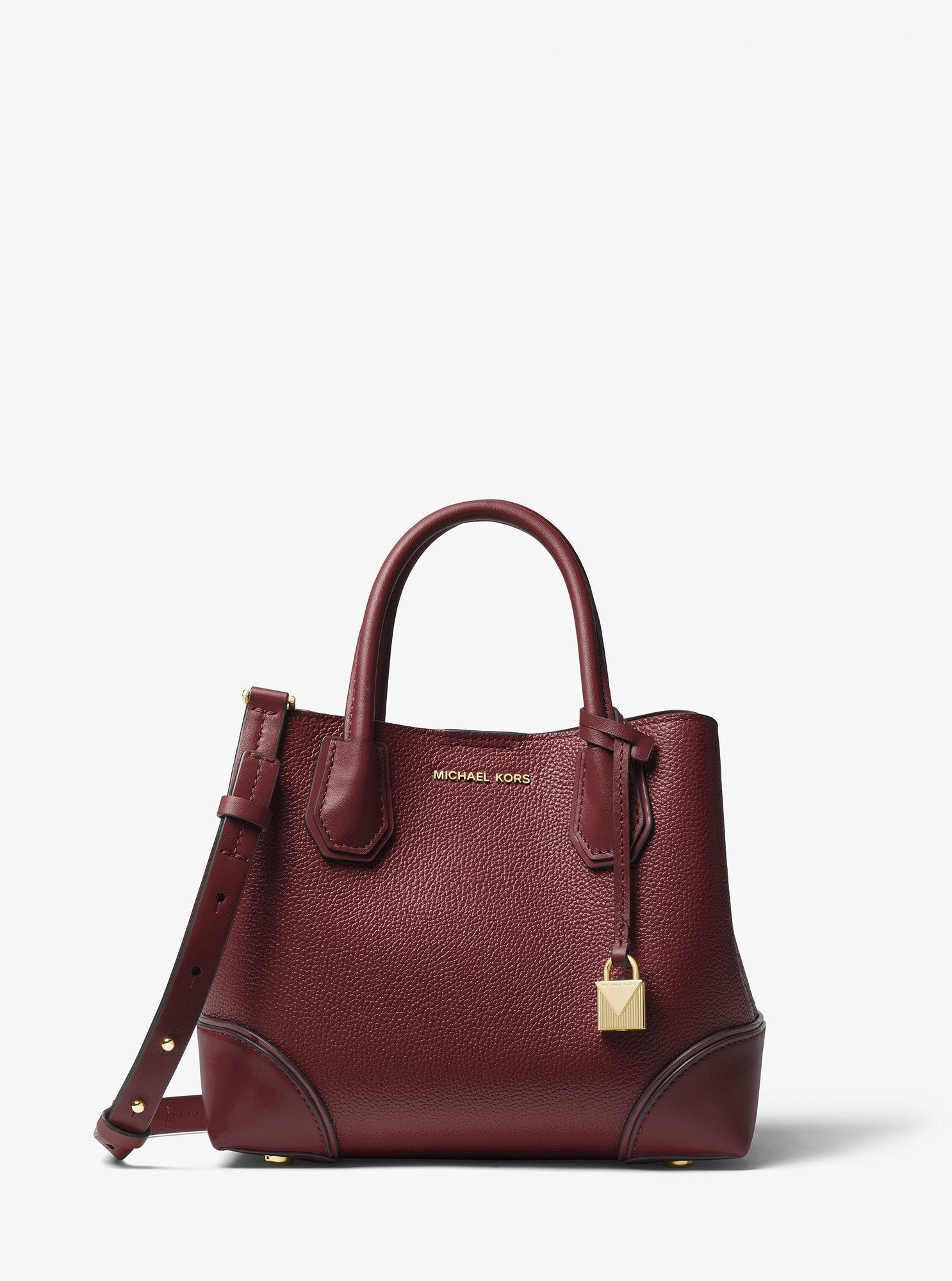 17f671b566250b Michael Kors Mercer Gallery Small Pebbled Leather Satchel - Oxblood ...