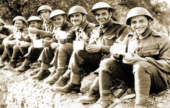 Greek & British soldiers drinking tea,Crete...1941