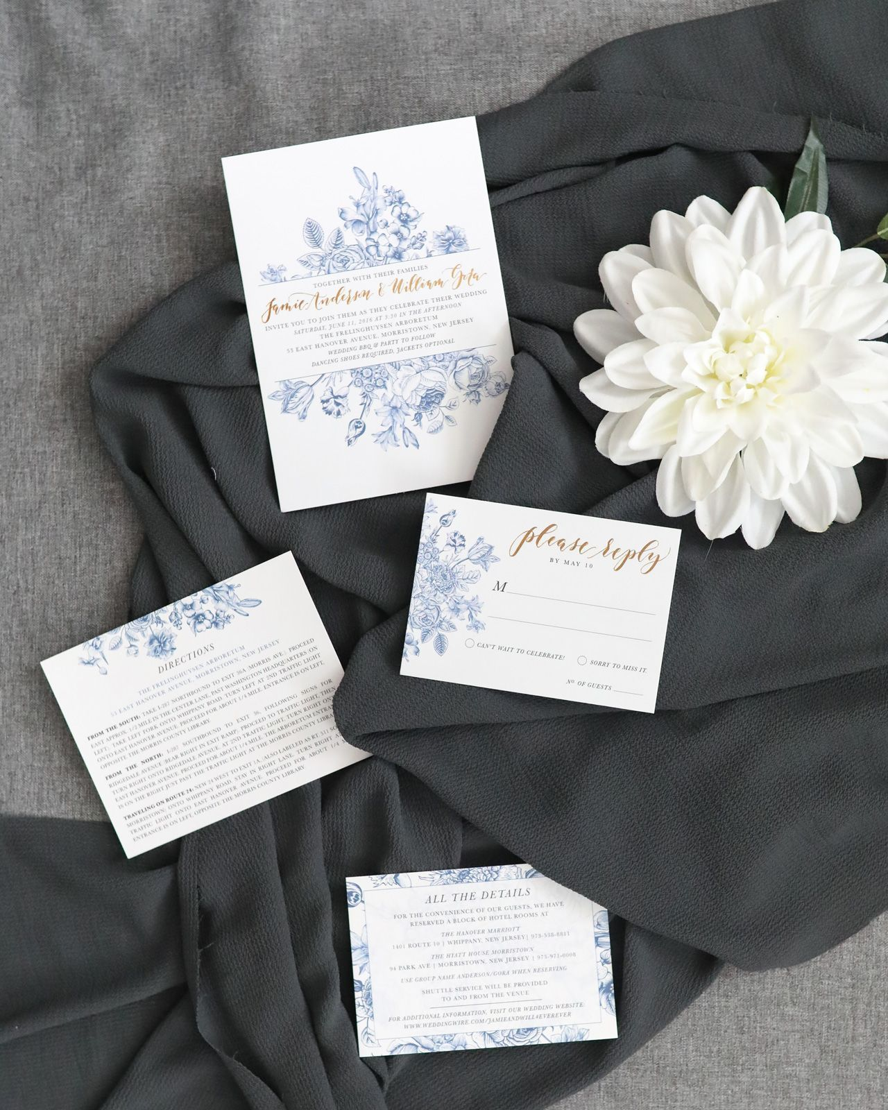 Chinoiserie-Inspired Blue and White Wedding Invitations ...
