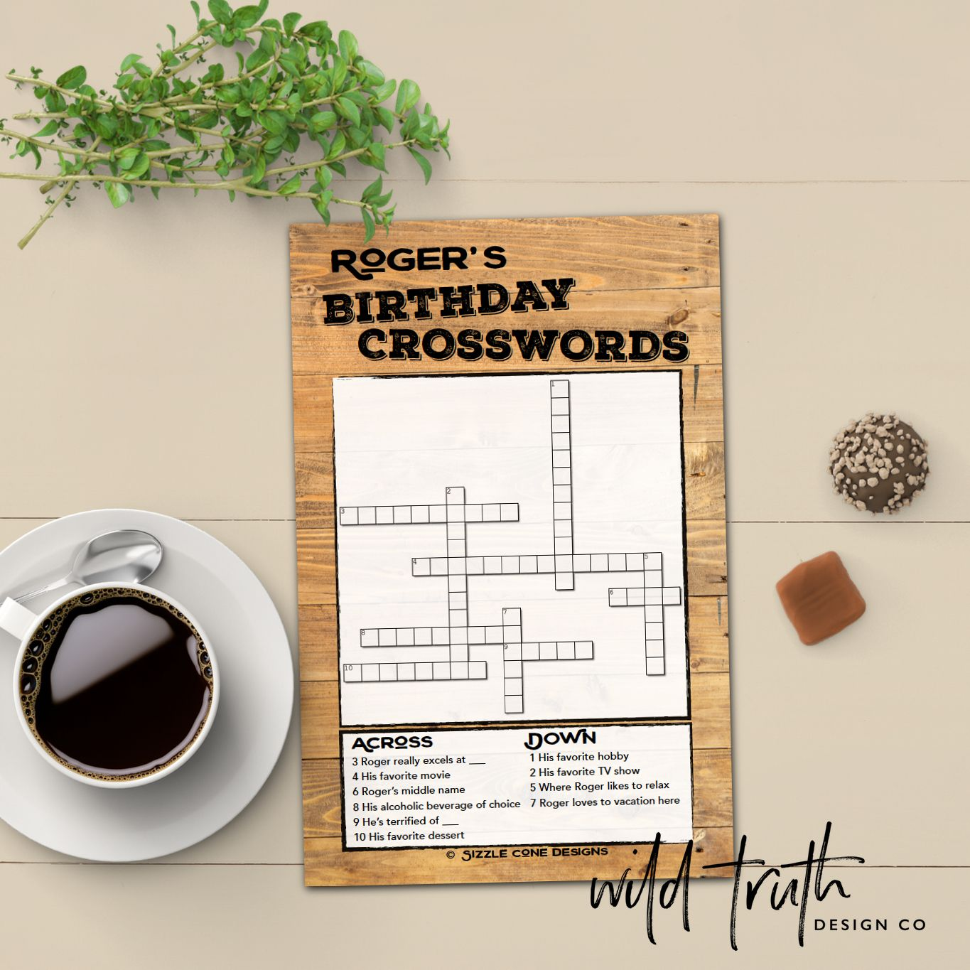 Custom Birthday Crossword For Adults Rustic Wood Printable or