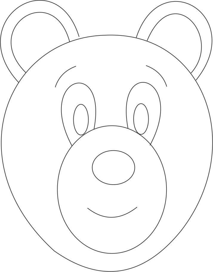 Bear mask printable coloring page for kids: Bear mask