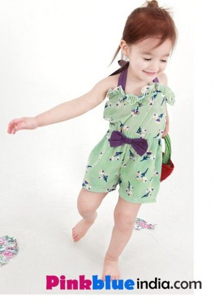 e8b06b01596 Dress your young baby girl in the smart and stylish short jumpsuit in  pastel green color.
