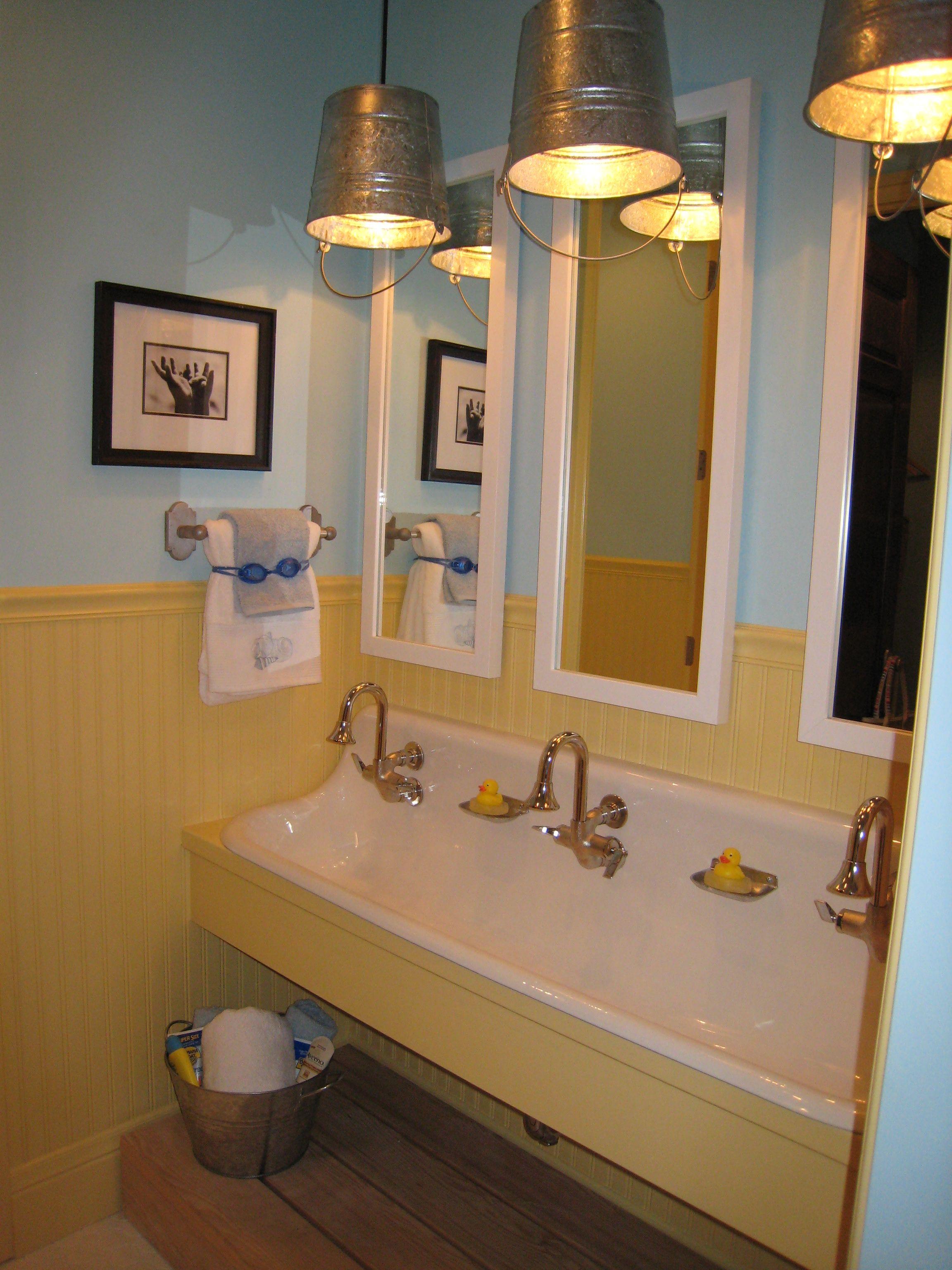 kidsu0027 jack u0026 jill bathroom trough sink with multiple faucets bucket pendant lights