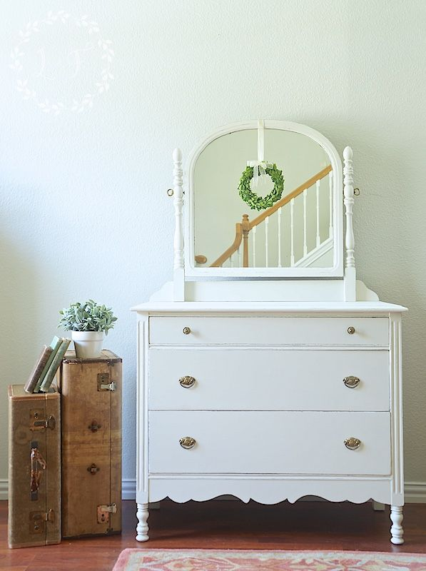 farmhouse antique dresser makeover using layered paint technique
