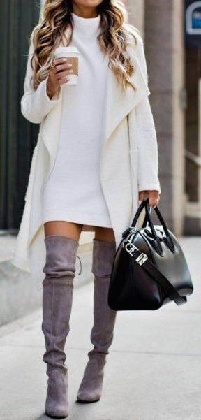 fall #outfits all white + gray boots | clothes | Fashion
