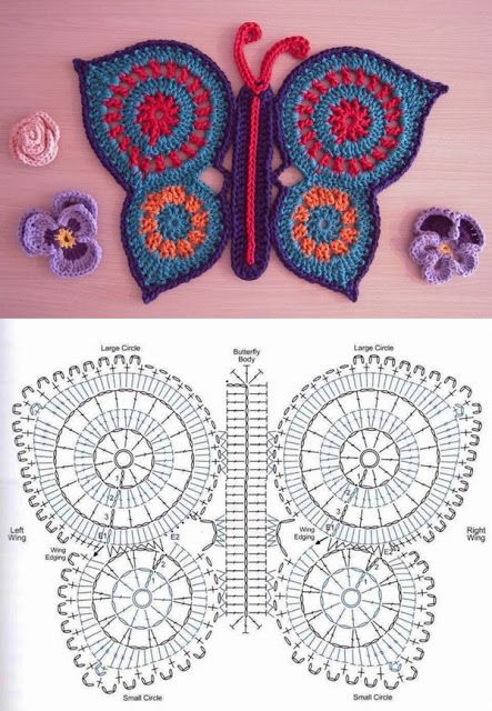 crochet mariposa   flower\'s   Pinterest   Mariposas, Ganchillo y Tejido