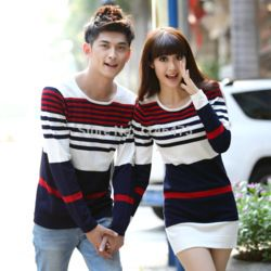 dbf8ac5f Online Shop Hot Selling Men Women Fashion Cute Korean Matching Couple  Clothes Shirts Casual Striped Couple Christmas Sweaters Free Shipping  |Aliexpress ...