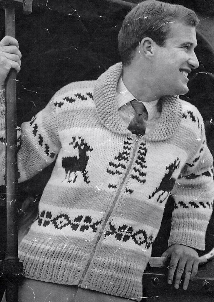 Vintage Knitting Pattern Mens Christmas Reindeer Chunky Jacket