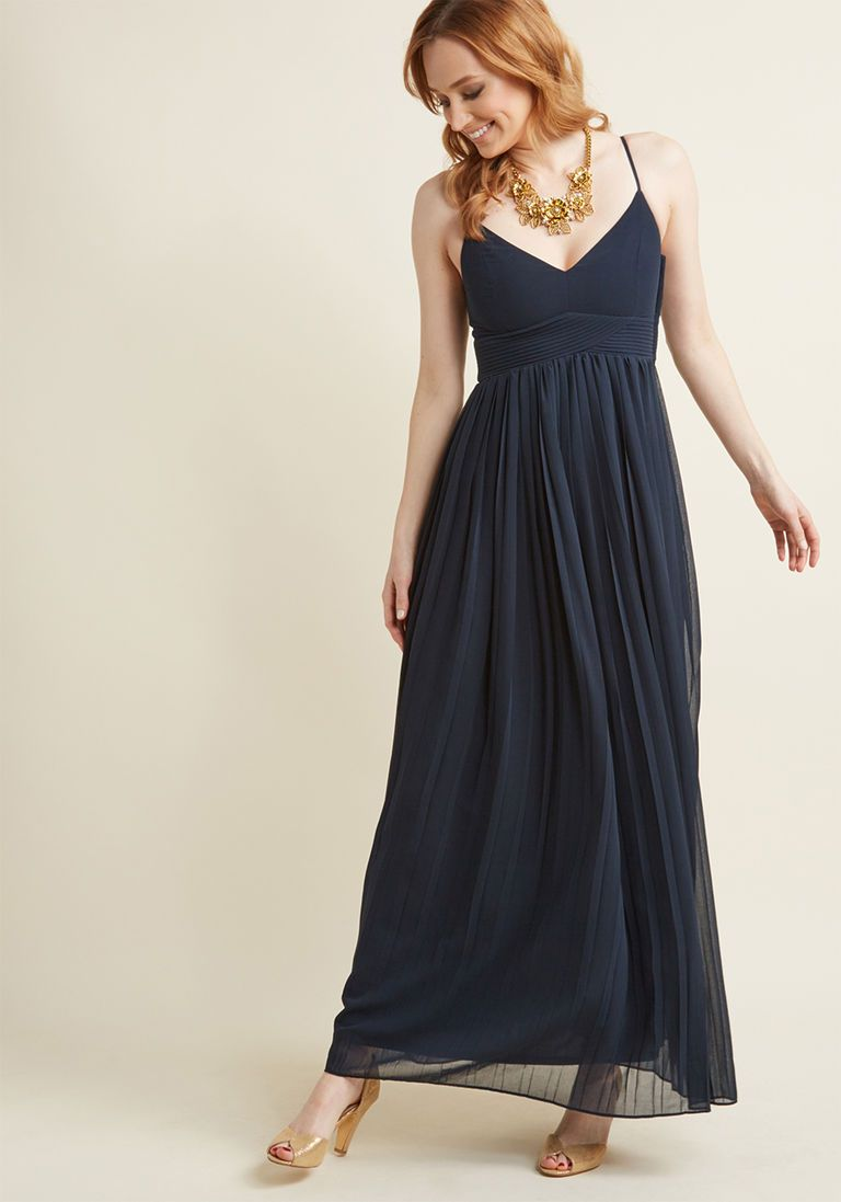 Ceremonial Companion Maxi Dress in Navy in 3X - Spaghetti A-line by ModCloth 8f7ee3574