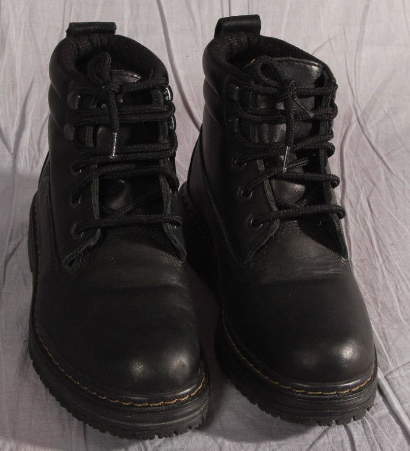 Men Steel Toe Boots Traction Street Black Leather Size 6 5 M Work