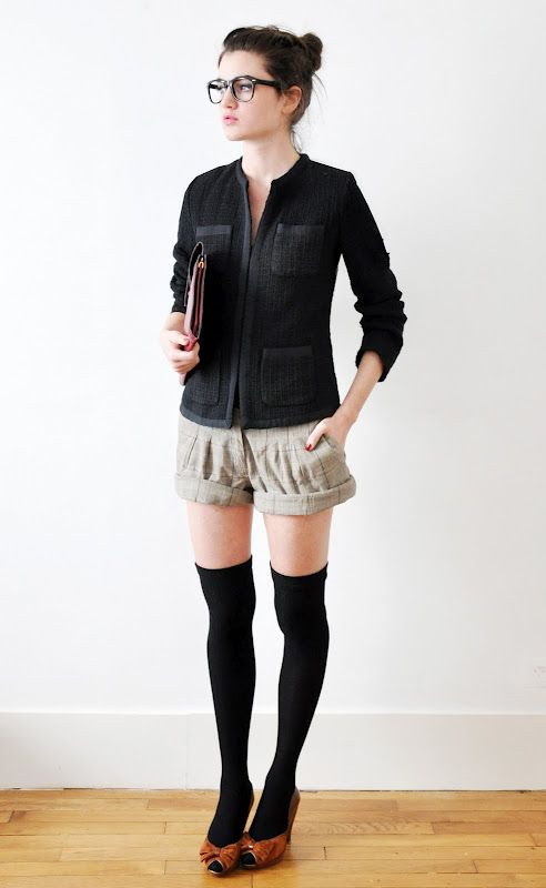 Bubble shorts with over-the-knee leggings/tights.