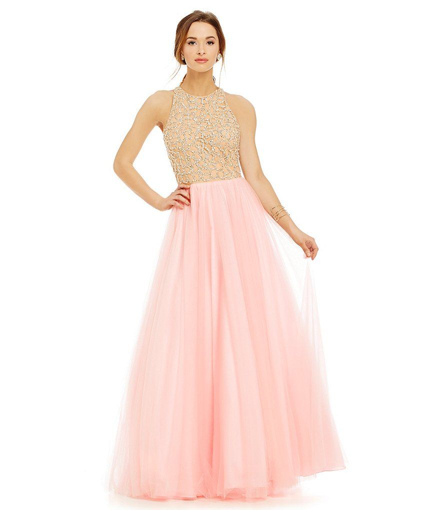Pink:Glamour by Terani Couture Beaded Illusion Bodice Ball Gown ...