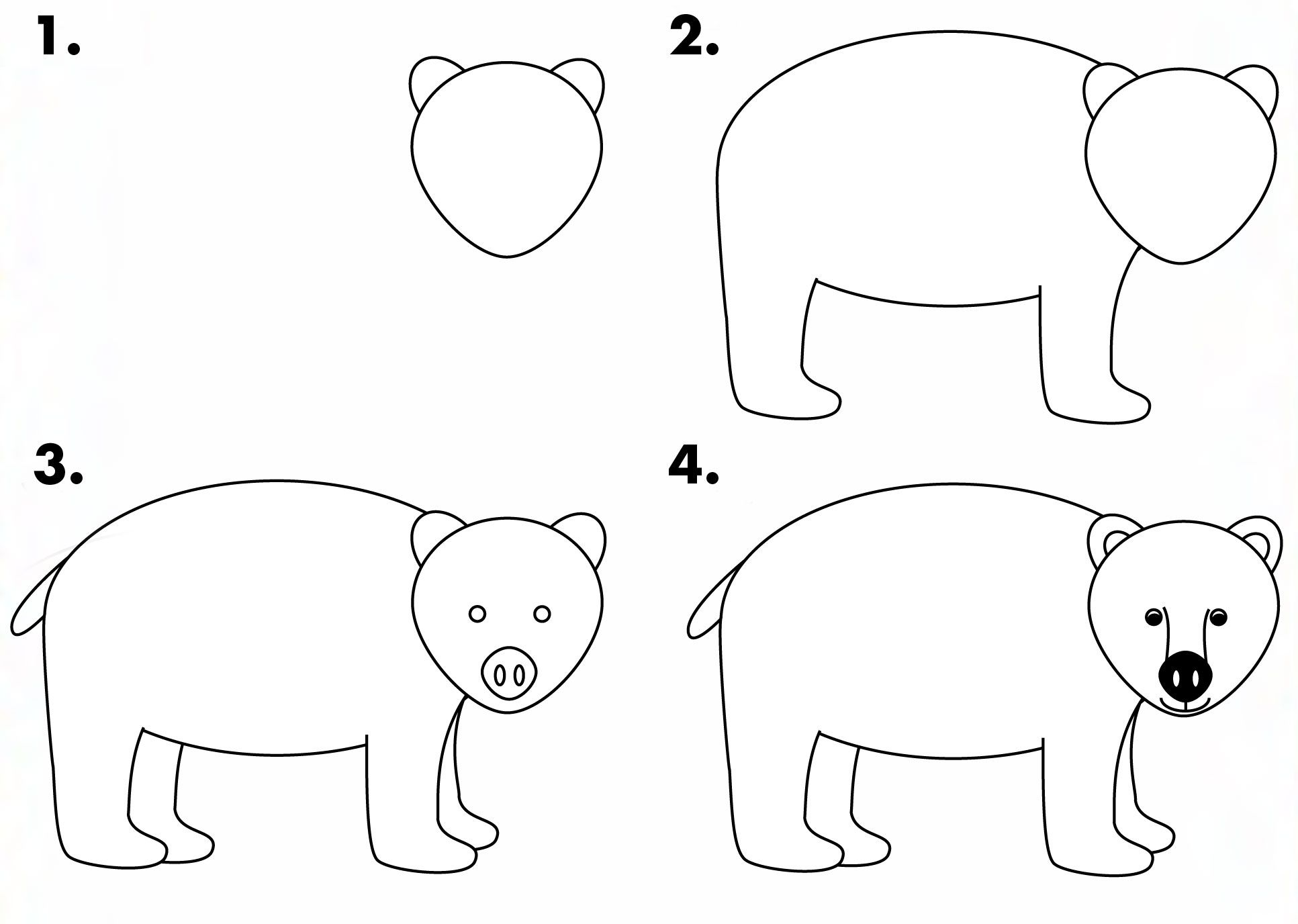 How To Draw A Black Bear For Kids Drawbear Wildlife