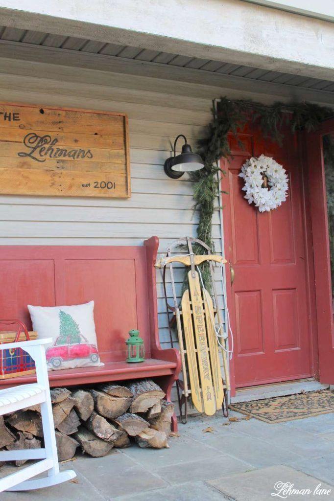 Farmhouse Christmas Front Porch Front porch bench