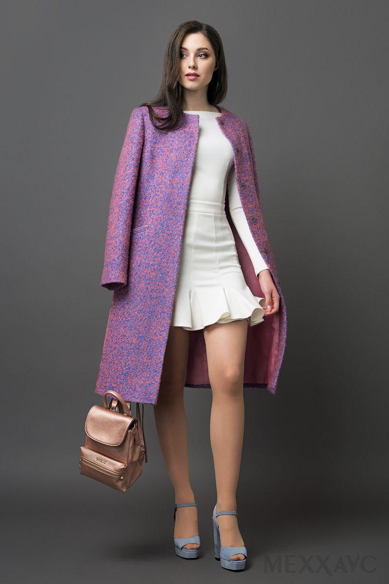 ac723bbf3da Женское демисезонное пальто розового цвета из ткани