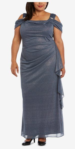 R & M Richards Draped Cold-Shoulder Gown