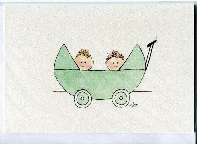 Twin babies in a  pram -card-handmade-birth congratulations £2.95