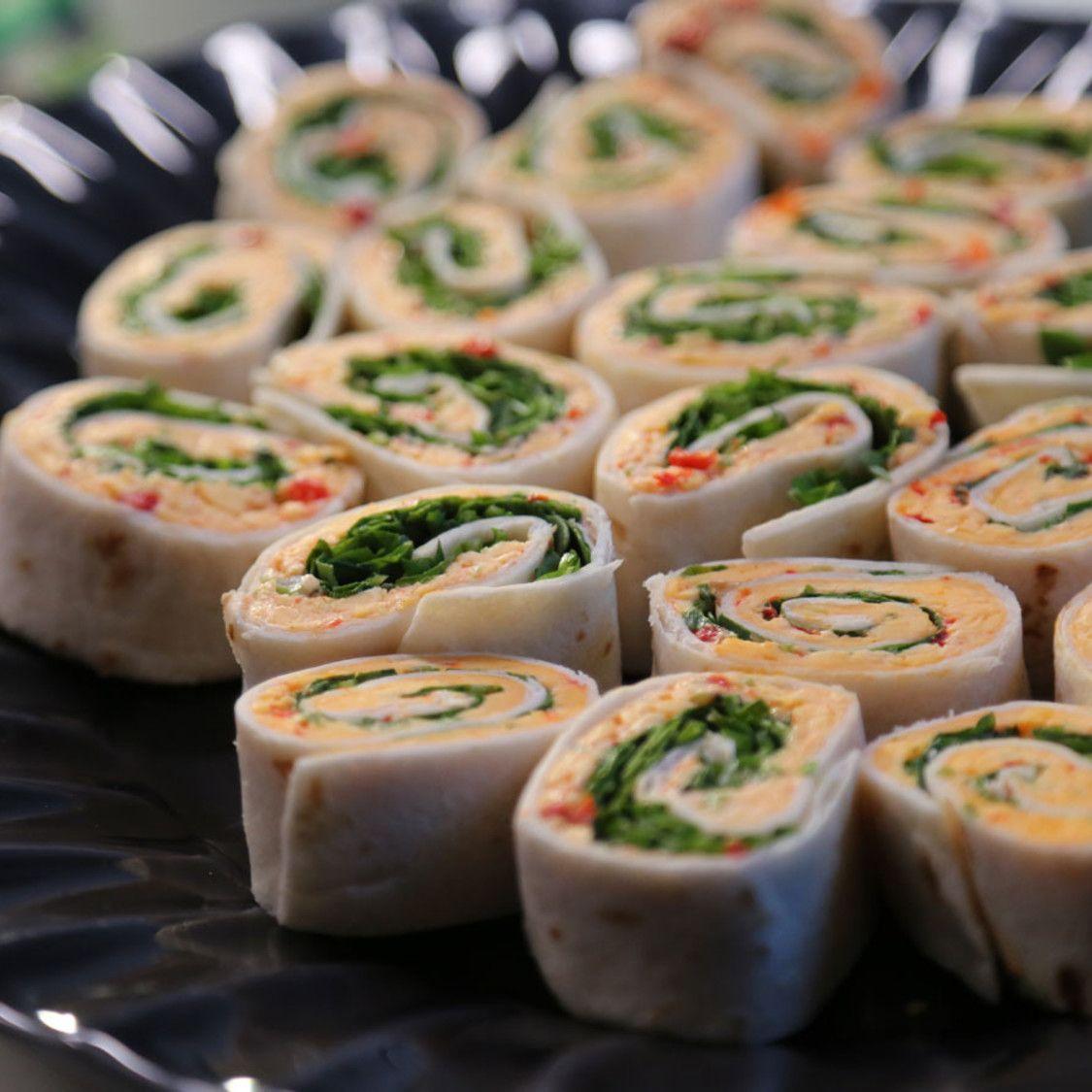 Pimiento Cheese Pinwheels Recipe In 2020 Food Network Recipes Pinwheels Cheese Pinwheels