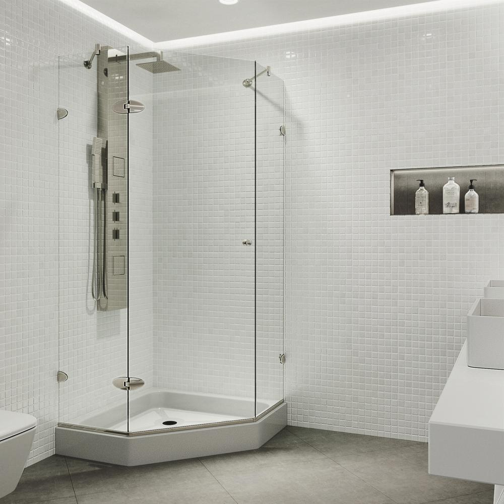 Vigo 42 In X 78 In Frameless Neo Angle Shower Enclosure In Brushed Nickel With Clear Glass And Base Neo Angle Shower Corner Shower Enclosures Shower Enclosure