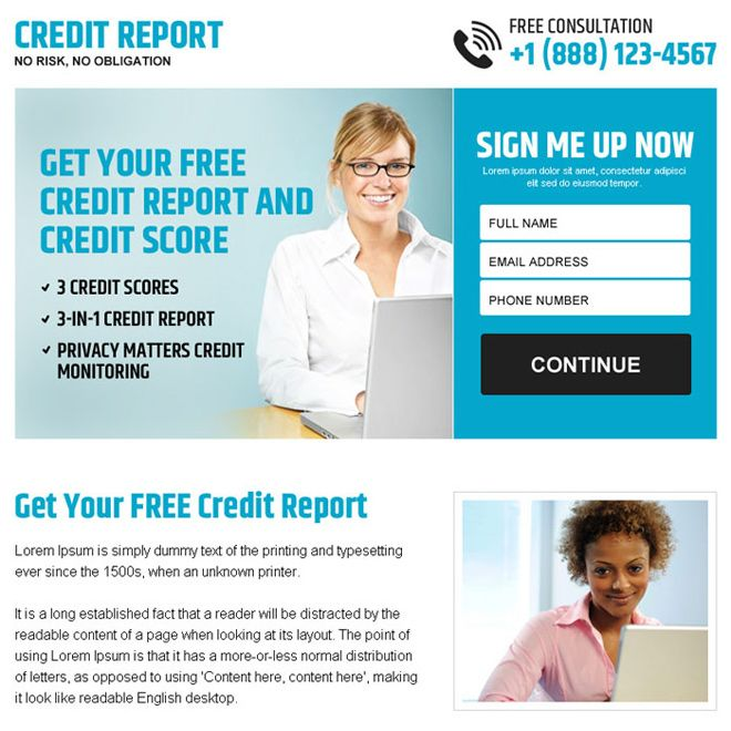 free credit report sign up lead capture ppv landing page | top ...