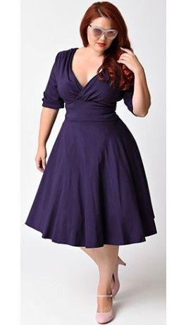 Unique Vintage Plus Size 1950s Style Dark Purple Half Sleeve Delores Swing  Dress 83de0bd5818b