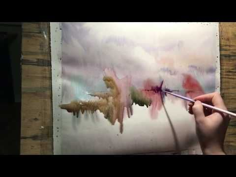 How to paint tree trunks in watercolor wet paper technique - Comment dessiner trunks ...