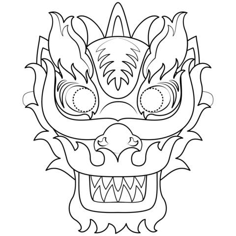 Chinese New Year Dragon Mask Coloring Page Chinese New Year Dragon New Year Coloring Pages Dragon Mask