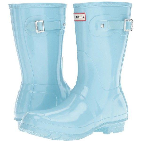 Hunter Original Short Gloss (Pale Mint) Women's Rain Boots ($140) ❤ liked