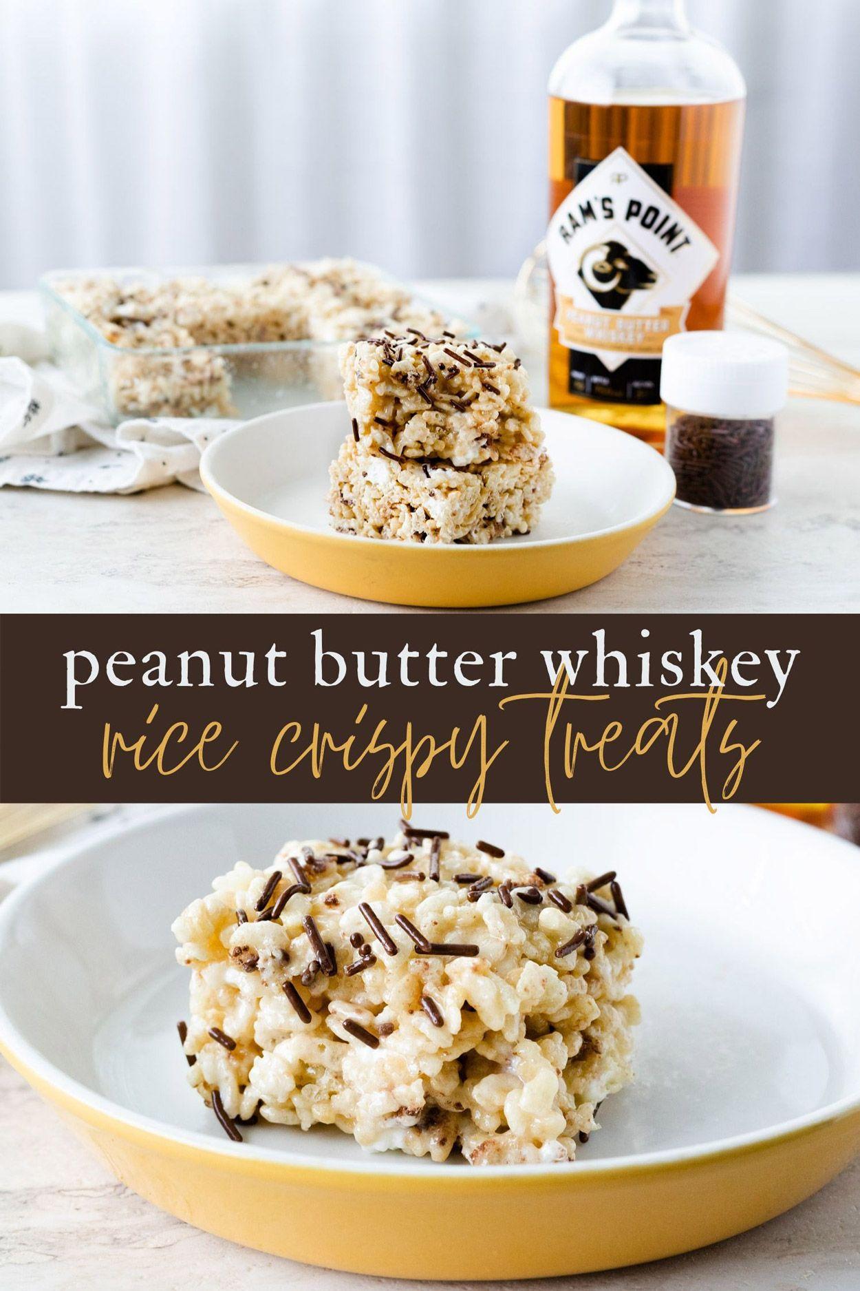 Peanut Butter Whiskey Rice Crispy Treats | Recipe | Alcoholic desserts, Crispy treats, Boozy ...